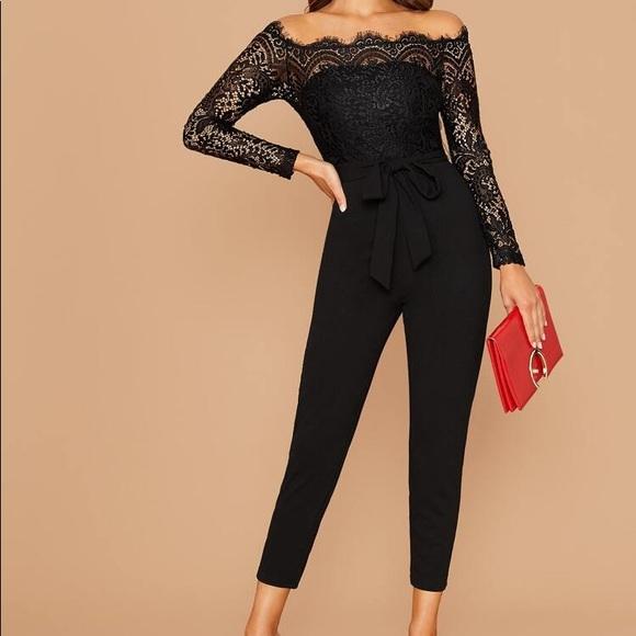 Off shoulder lace bodice jumpsuit